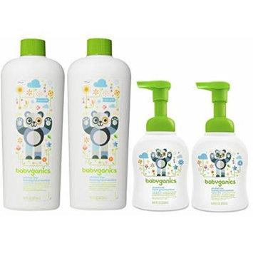 Babyganics 2 Pack Foam Hand Sanitizer with 2 Pack Refill Bottle, Fragrance Free