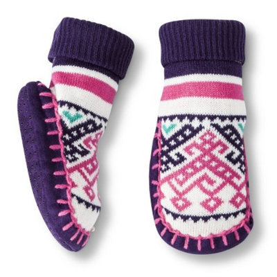 Circo Newborn Toddler Girls' Fair Isle Slipper Sock - Purple/Pink 6-12 M