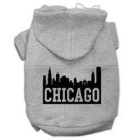 Mirage Pet Products Chicago Skyline Screen Print Pet Hoodies Grey Size XL (16)
