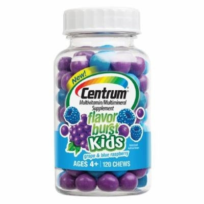 Centrum Kids Flavor Burst Multivitamin Chews, Grape & Blue Raspberry 120 ea Pack of 4