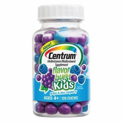 Centrum Kids Flavor Burst Multivitamin Chews, Grape & Blue Raspberry 120 ea Pack of 4