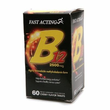 Fast Acting Vitamin B12 2500 mcg, Quick Disolve Tablets, Cherry 60 ea Pack of 2
