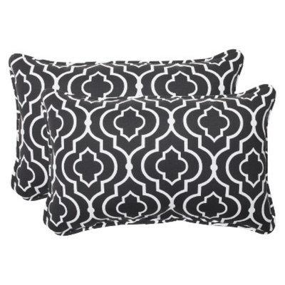 Pillow Perfect Outdoor 2-Piece Rectangular Throw Pillow Set - Black/White Starlet