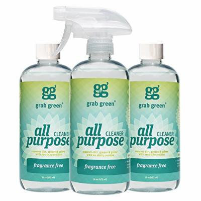 Grab Green Natural All Purpose Cleaner, Fragrance Free, 16 Ounce, 3 count