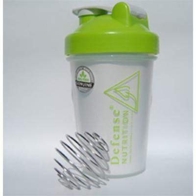 Blender Bottle W/wire Shaker Ball, 20 Ounce Shaker Bottle for Protein Powder, Clear Green - Defense Nutrition
