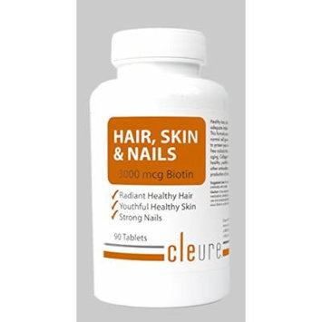 Cleure Hair, Skin & Nails Natural Vitamin Supplement - Extra Strength - Made in the USA, High Potency Biotin, Vitamin Fortified supporting hair growth, radiant skin, strong nails; Free of harmful fillers for easy absorption - 90 Tablets