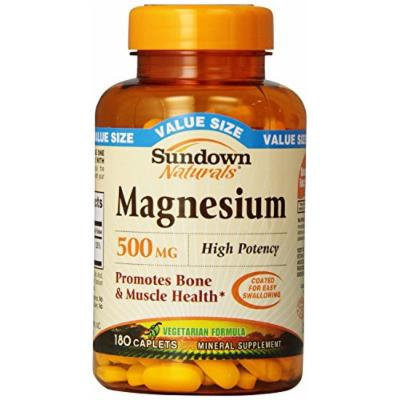 Sundown Naturals Magnesium 500 Mg Caplets Value Size, 180 Count Pack of 2