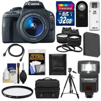 Canon EOS Rebel SL1 Digital SLR Camera & EF-S 18-55mm IS STM Lens with 32GB Card + Battery + Case + Flash + Tele/Wide Lenses + Tripod + Accessory Kit