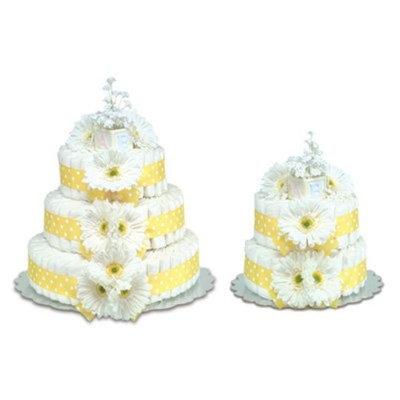 Bloomers Baby Diaper Cake Classic Yellow Gerbera Daisies 3-Tier