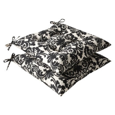 Pillow Perfect 2-Piece Outdoor Tufted Seat Pad/Dining/Bistro Cushion Set -