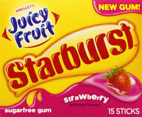 Wringley's Juicy Fruit Starburst Strawberry Gum