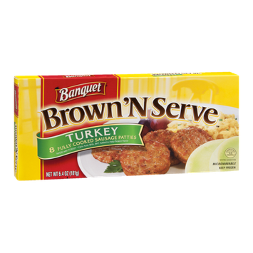 Banquet Brown 'N Serve Turkey Sausage Patties - 8 CT