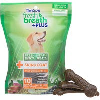 Tropiclean Fresh Breath Plus Dental Dog Treats 20 Ounce-Large Skin & Coat 001664