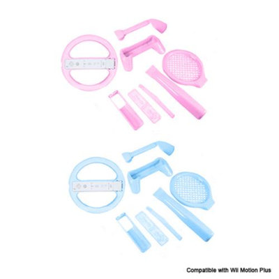 8 in 1 Sports Pack Compatible with Motion Plus Blue and Pink for Nintendo Wii- 2 Pack