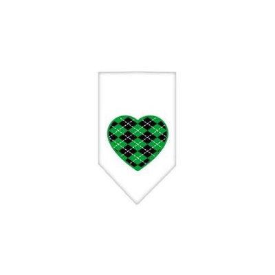 Ahi Argyle Heart Green Screen Print Bandana White Large