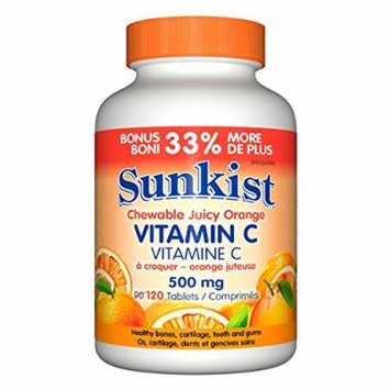 Sunkist Vitamin C Chewable, Orange, 500mg, Bouns 90+30 tables