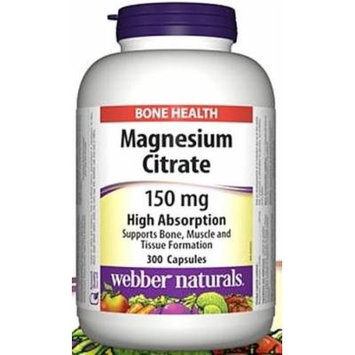 Webber Naturals Magnesium Citrates High Absorption 150 mg 300 Capsules