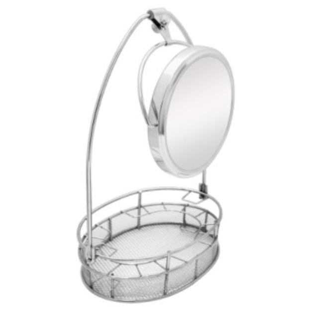 Zadro Products Cosmetic Basket Organizer with Mirror in Satin Nickel
