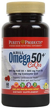 Purity Products - Krill Omega 50 with CoQ10, 60 Dietary Supplement Softgels
