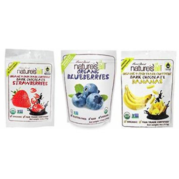 Nature's All Organic Freeze Dried Fruit 3 Flavor Variety Bundle: (1) Nature's All Organic & Fair Trade Dark Chocolate Strawberries, (1) Nature's All Organic & Fair Trade Dark Chocolate Bananas, and (1) Nature's All Organic Gluten-Free Blueberries,...