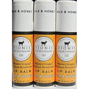 Dionis Lip Balm - Milk and Honey - 0.28 Oz Tube - Pack of 3 in a Gift Bag