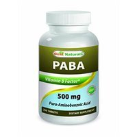 PABA 500 mg 180 Tablets by Best Naturals - Manufactured in a USA Based GMP Certified and FDA Inspected Facility and Third Party Tested for Purity. Guaranteed!!