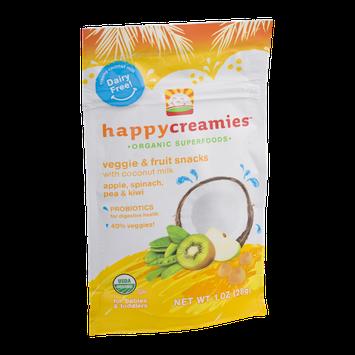 Happy Creamies Organic Superfoods Veggie & Fruit Snacks Apple, Spinach, Pea & Kiwi