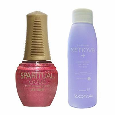 Bundle of Two Items: SpaRitual Gold Collection Nail Lacquer in Eternal .5 oz with Nail Polish Remover 2 oz