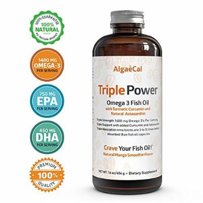 Great Tasting Triple Strength Fish Oil Supplement - Triple Power Omega 3 Fish Oil (16 fl oz) - 100% Mango Flavored, Best Tasting Fish Oil, and No Burp-Back - Improves Omega 3 Test Levels In 90 Days