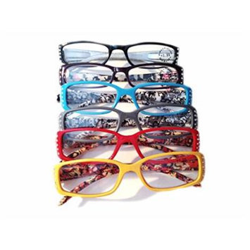 Designer Women's Plastic Reading Glasses Pack of 6 Floral/Polka Dot/Shimmer Snake 1.5