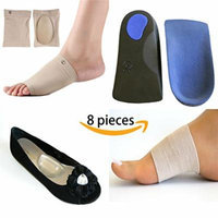 LifeLux Plantar Fasciitis Arch Support Pain Relief Value Pack. 1 Pair 3/4 Length Arch Support Insoles, Heel Cushion For Plantar Fasciitis Treatment, Back Pain; 2 Self Adhesive Gel Arch Support Shoe Inserts For Flat Feet, Knee Pain; 2 Arch Support...