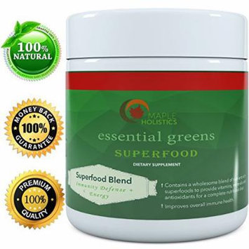 Best Raw Green Superfood Powder - Immunity + Energy Booster - Food-grade and Pure Ingredients - Vitamins, Minerals & Antioxidants - Contains Spirulina, Spinach, Maca and Flaxseed By Maple Holistics,30 Servings