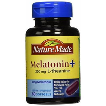 Nature Made Melatonin + with 200 Mg L-theanine, 60 Count (Pack of 3)