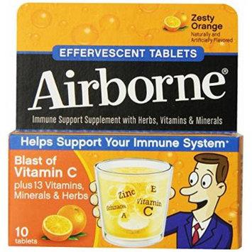 Airborne Effervescent Health Formula Tablets, Orange, 3 Packs of 10, 30 Count