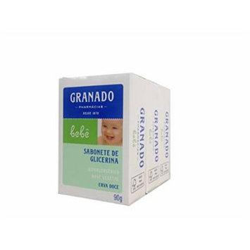 Linha Bebe Granado - Sabonete em Barra de Glicerina Erva-Doce (3 x 90 Gr) - (Granado Baby Collection - Fennel Glycerin Bar Soap Net (3 x 3.2 Oz))