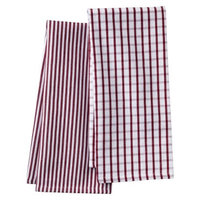 Threshold Stripe & Grid Kitchen Towel Set of 2 - Red