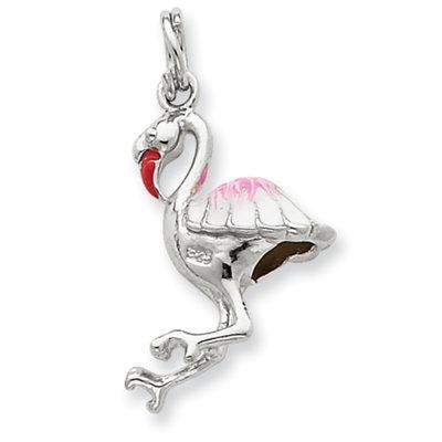 Fila goldia Sterling Silver Enamel Flamingo Charm
