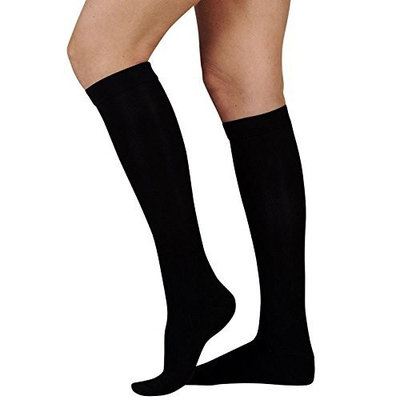 Juzo Basic Ribbed Knee High Short Closed Toe 30-40mmHg, III, Black