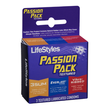LifeStyles Textured Lubricated Condoms Passion Pack - 3 CT