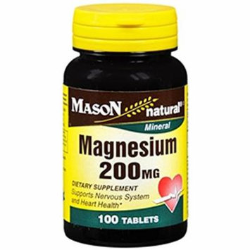 Mason Natural Magnesium 200 Mg Dietary Supplement Tablets - 100 Ea Pack of 3