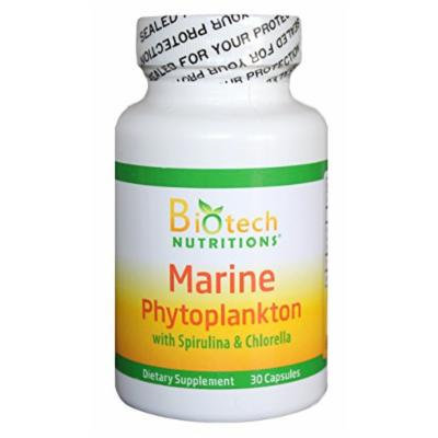 Biotech Nutritions Marine Phytoplankton with Spirulina and Chlorella Vegetable Capsule, 30 Count