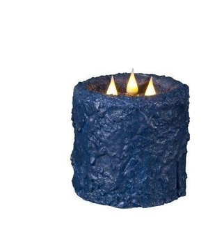 Delighted Home MC-W3BL Hand-Waxed Battery-Operated Blue MC 3 Wick Candle