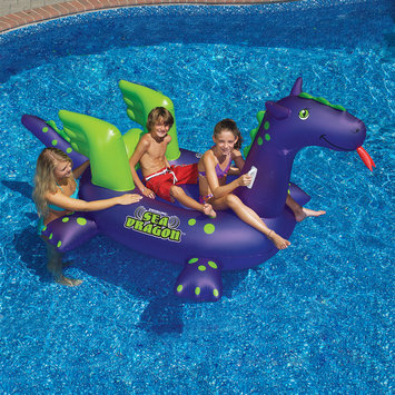 Swim Time Swimline Giant Sea Dragon Inflatable Ride-On Pool Toy