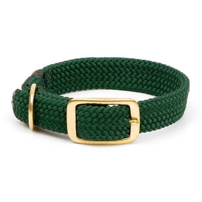 Mendota Products Double Braid Dog Collar, Hunter Green, 1 x 21-Inch
