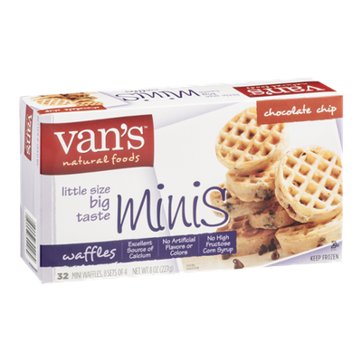 Van's Natural Foods Mini Waffles Chocolate Chip - 32 CT