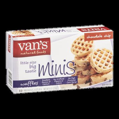 Van's Natural Foods Mini Waffles Chocolate Chip - 32 CT