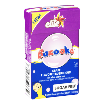 Bazooka Elite Bubble Gum Grape Sugar Free