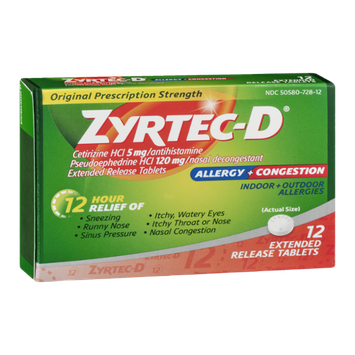 Zyrtec-D Allergy + Congestion Extended Release Tablets - 12 CT