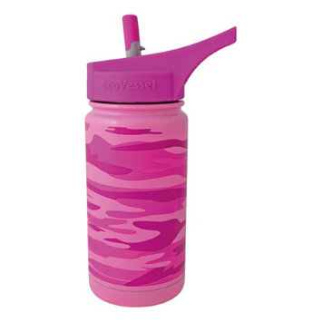 Ecovessel 13oz (400ml) Kids TriMax Triple Insulated Steel Bottle with Straw Top - Pink Camouflage