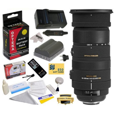 Sigma 50-500mm f/4.5-6.3 APO DG OS HSM Lens (738306) With 3 Year Warranty for Nikon DSLR Camera with EN-EL3E 2000MAH, Charger, Cleaning Kit, Remote Control, Microfiber Cloth, $50 Gift Card